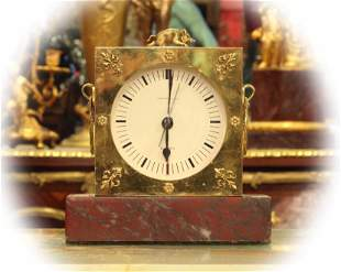 Tiffany table clock with gilt bronze frame & rough