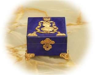 Lapis lazuli stone jewelry box with gilt bronze and