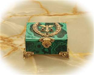 Russia malachite stone & gilt bronze jewelry box