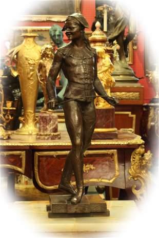 19 C bronze brown patina sculpture, signed