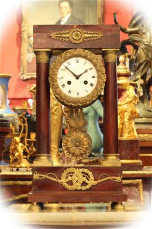 19 C French 4 columns wooden & Dore bronze mantel clock
