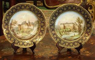 Pair 19th century French sevres hand painted plates