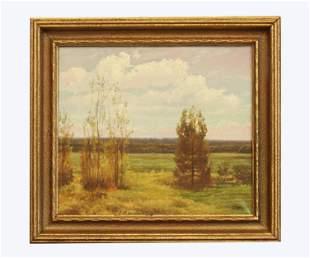 Oil on canvas, Landscape, signature unreadable
