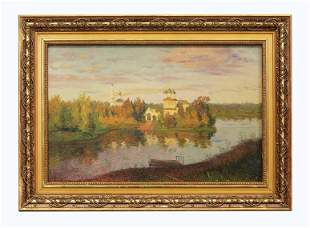 Oil on the board, Landscape, probably Russian