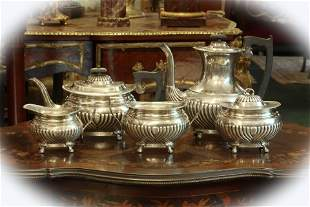 19 C sterling silver 5 pieces tea coffee set, marked
