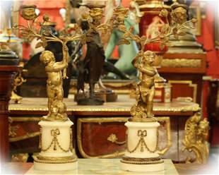 Pair 19 C Dore bronze candelabra with