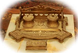Antique bronze inkwell desk sets, good condition