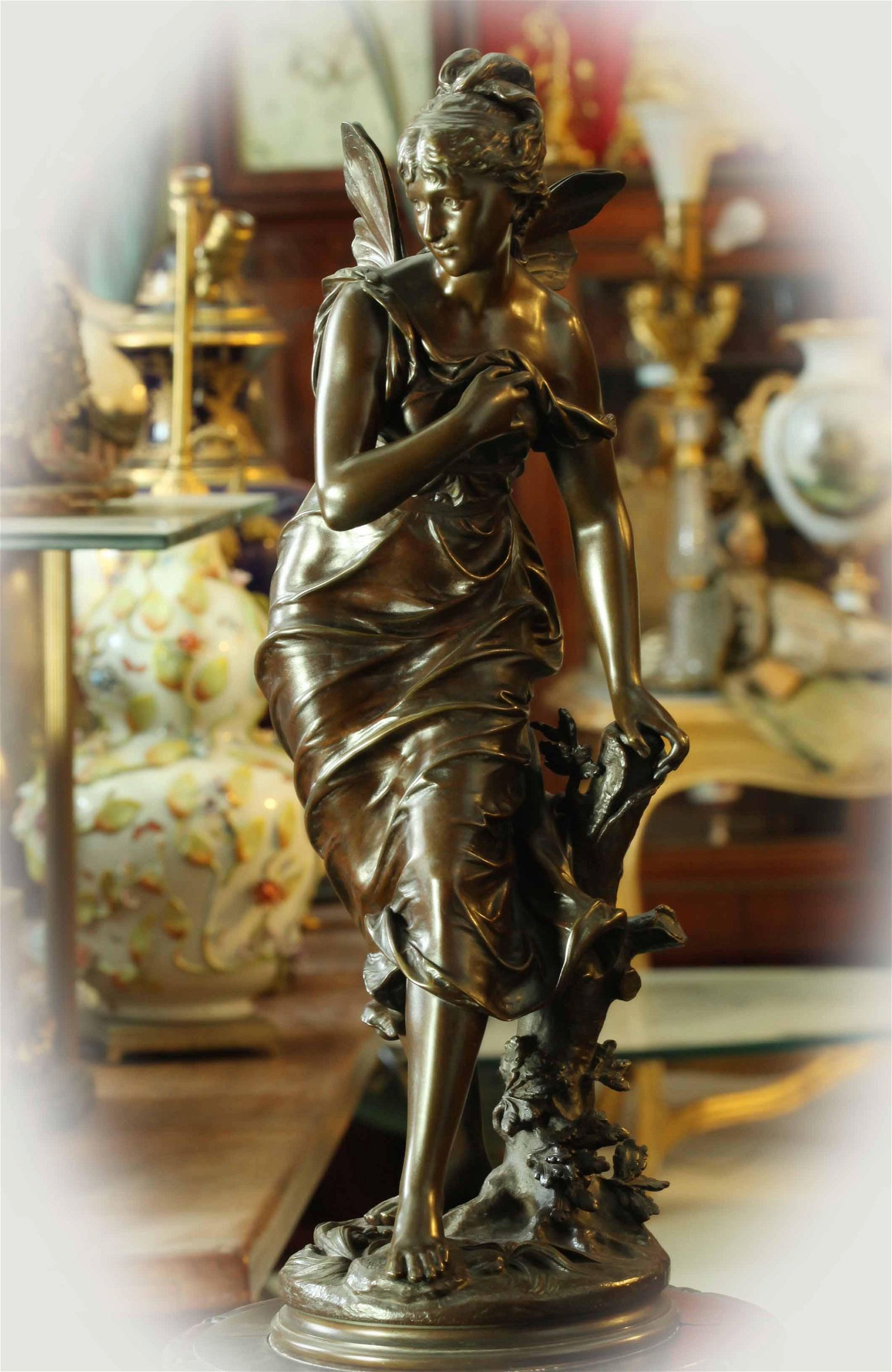 19th century brown patina bronze sculpture, signed