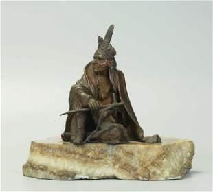 19 C Austrian Vienna Bronze Patina Statue, signed