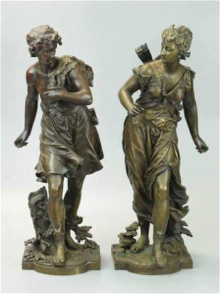 19th Century Pair Of Bronze Statues, signed