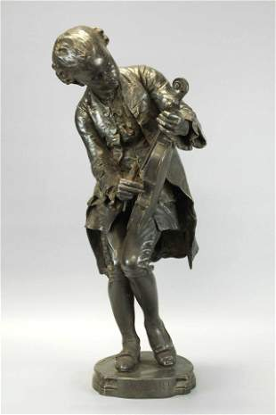 Barrias Mozart, Bronze silver plated, signed