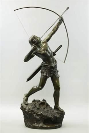 Gregorie Emile, Bronze & Dark patina statue, Archer