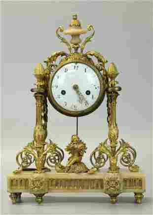 Early 19 C Dore Bronze Clock With Carrara Marble Base