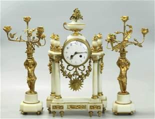 19th Century Dore Bronze And Carrera Marble Clock Set