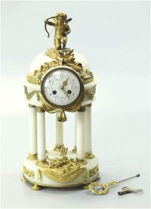 19th Century Carrara Marble Tiffany Clock