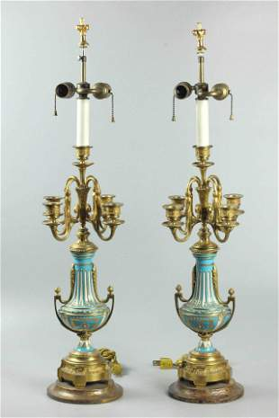 Pair Sevres Vases and Candelabras
