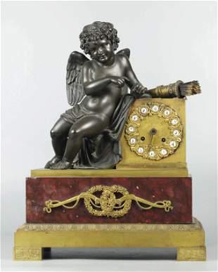 19 C Dore Bronze Dark Patina & Rouge Marble Clock