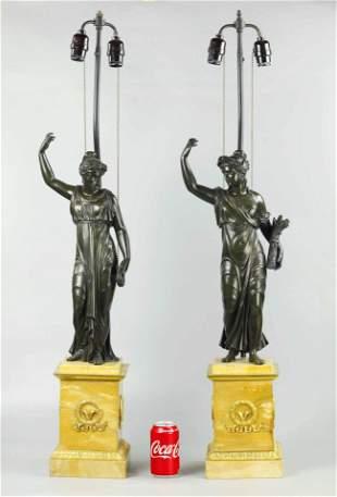 Pair 19 C Large Roman brown patina bronze Statue