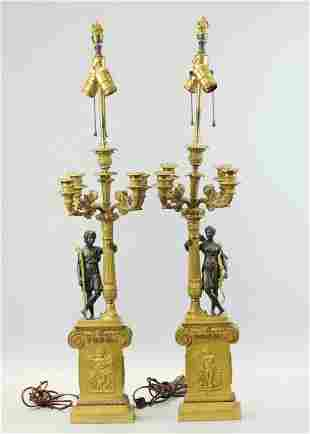 Pair of bronze candelabra, First Empire