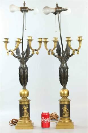 19 C pair Dore bronze and brown patina candelabra