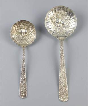 Two serving pieces, marked Kirk & Son