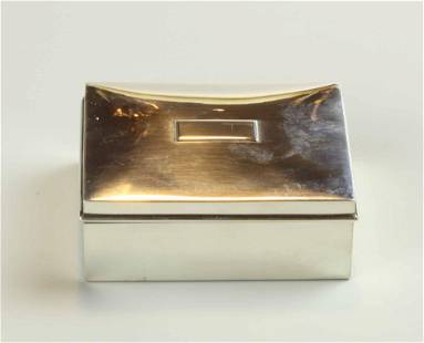 Sterling silver case with wood lining, marked