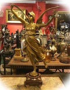 Eugene Marioton gold plated bronze Angel statue with