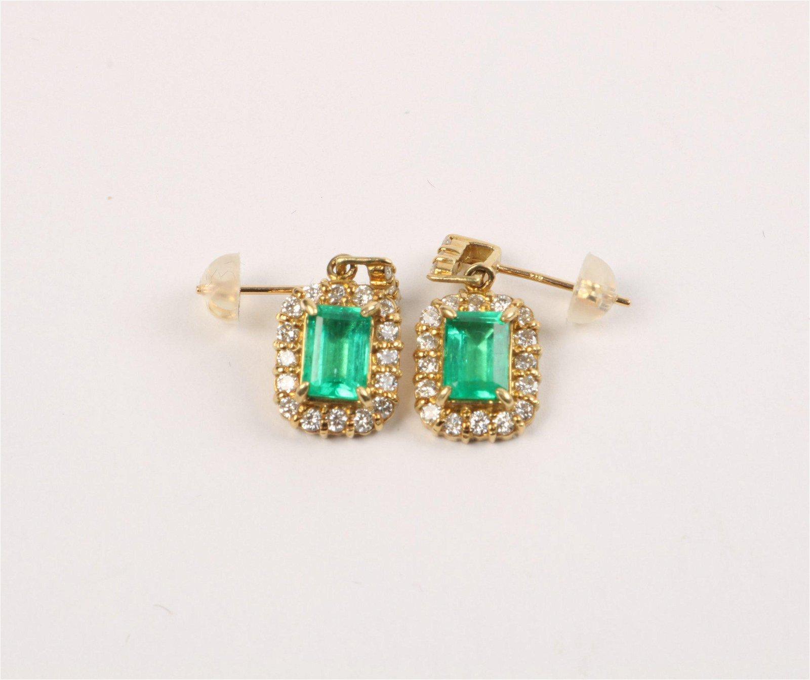 A Pair Of 18K gold, emerald & Diamond Earrings