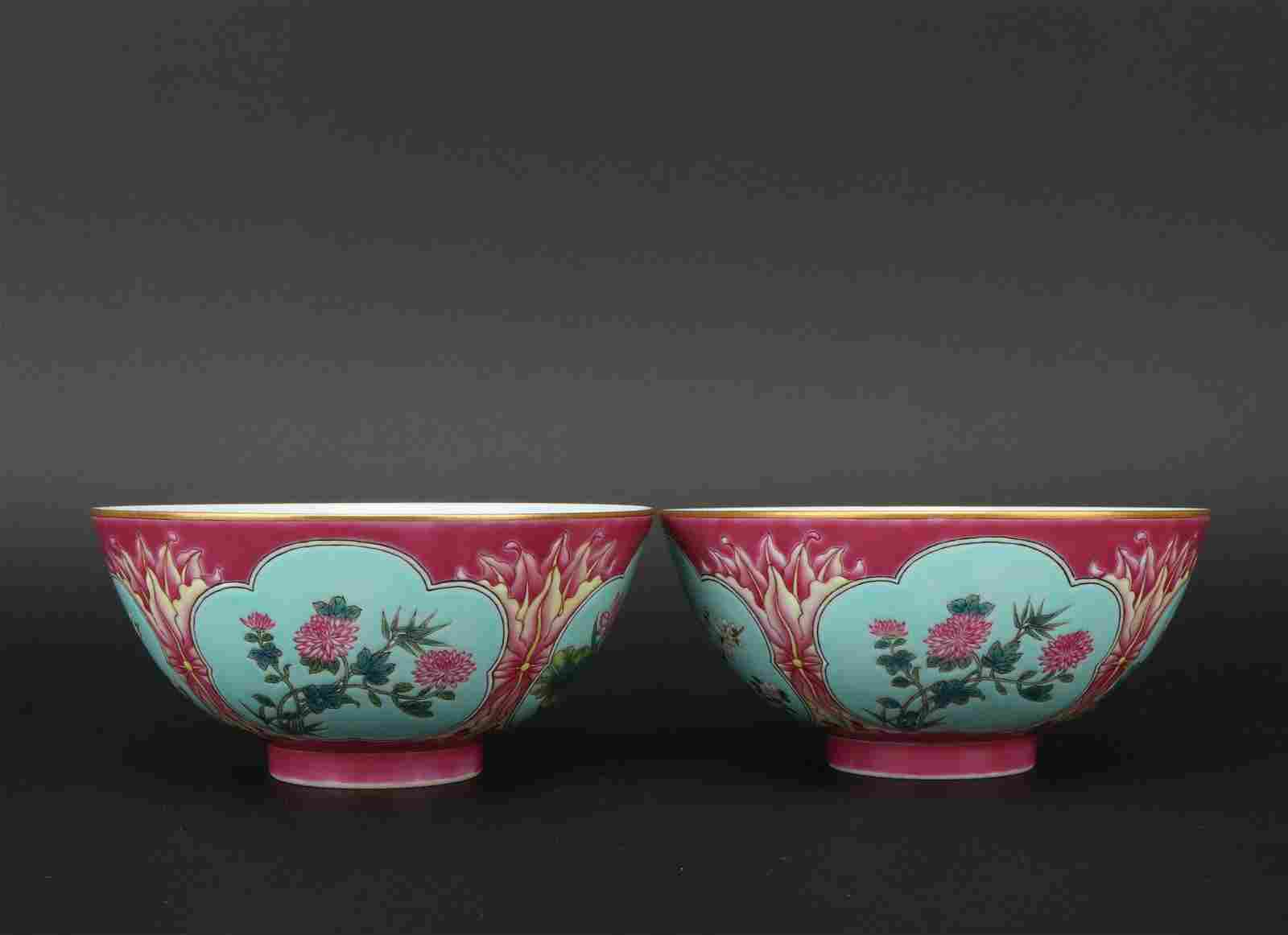 A pair of enamel 'floral' bowl,Qing dynasty