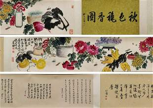 chinese hand scroll painting by qi baishi