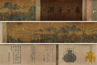 chinese hand scroll painting by zhao mengfu