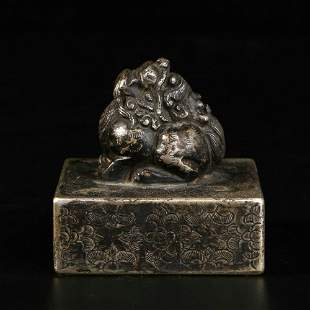 """chinese bronze """"beast"""" seal"""