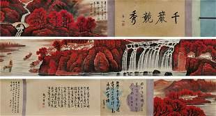 chinese hand scroll painting by li keran