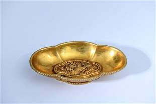 chinese gilt  bronze cup in shape of begonia