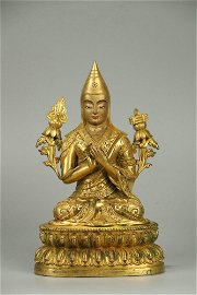 Gilt Copper Bodied Statue of Zong Keba