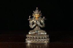 chinese gilt bronze Avalokitesvara statue