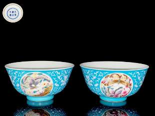 pair of chinese blue glazed porcelain bowls