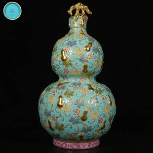 chinese famille rose porcelain double gourd vase
