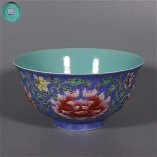 chinese blue glazed porcelain flower pattern bowl
