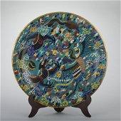 A Cloisonne enamel 'dragon and phoenix' dish