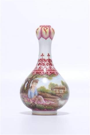 chinese famille rose porcelain garlic-head vase