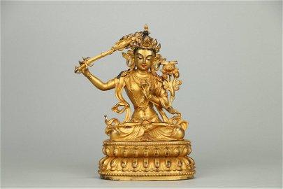 Gilt Copper Bodied Buddha
