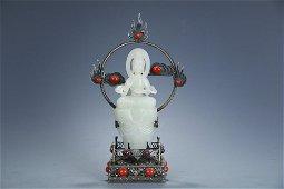 Hetian Jade Avalokitesvara with Silver Pedestal