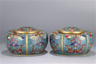 pair of chinese bronze enameled go pots