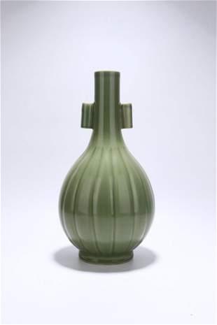 chinese celadon glazed porcelain handled vase