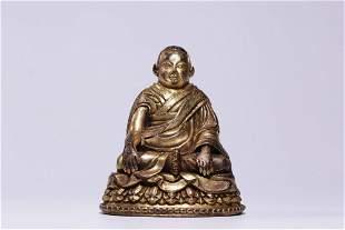 chinese gilt bronze figure of guru
