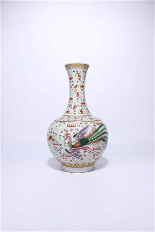 "chinese famille rose porcelain ""dragon"" vase"