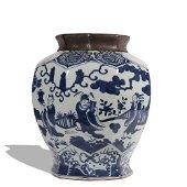 A blue and white 'figure' jar