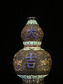Overseas Backflow. Gilt Silver Gourd-shaped Vase with