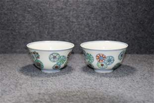 pair of chinese doucai porcelain cups